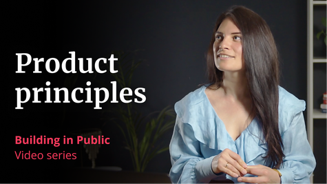 """A photo of VP of Product Megan Murphy, with the words """"Product principles, Building in Public, video series"""""""