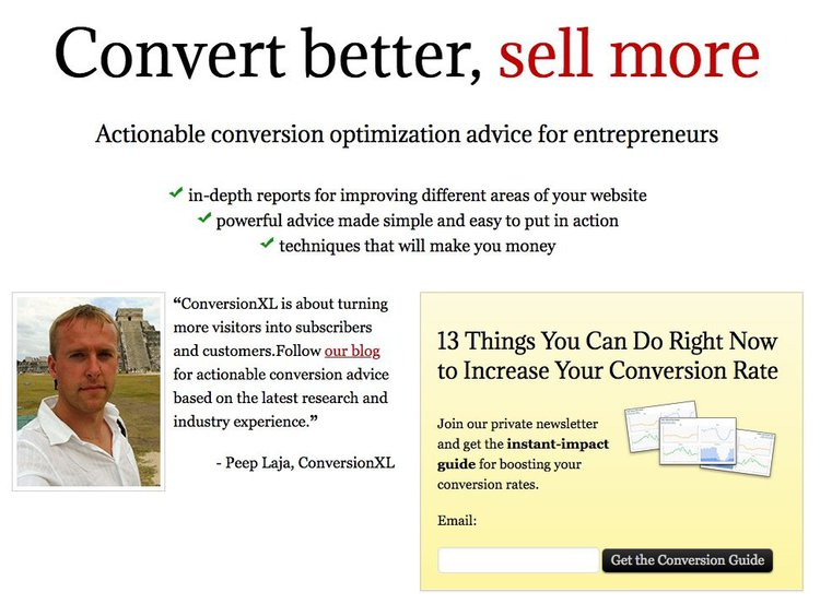 screenshot of Conversionxl's 2011 home page