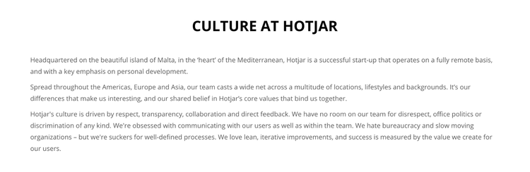 Culture at Hotjar