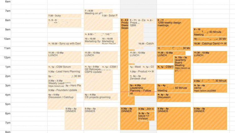 screenshot of David Darmanin's calendar