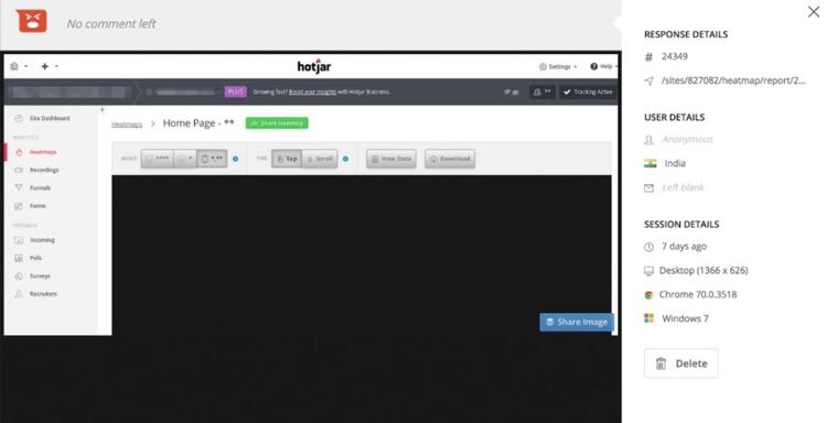screenshot of Hotjar customer negative feedback screen