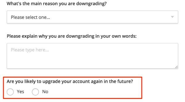 downgrade customer survey upgrade in the future