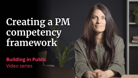 """A photo of VP of Product Megan Murphy, with the words """"Creating a PM competency framework, Building in Public, video series"""""""