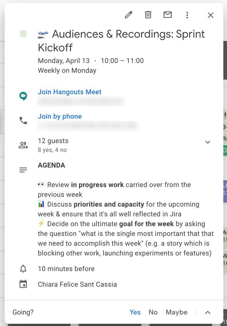 Screenshot of a hotjar remote team meeting Agenda