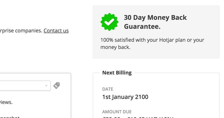 hotjar money back guarantee