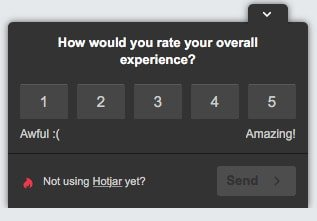 Hotjar quantitative on-site survey