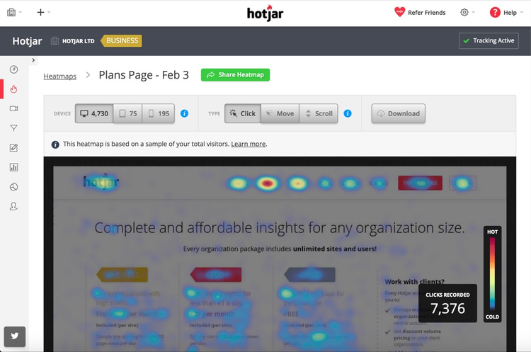 click heat map of hojars old pricing plan