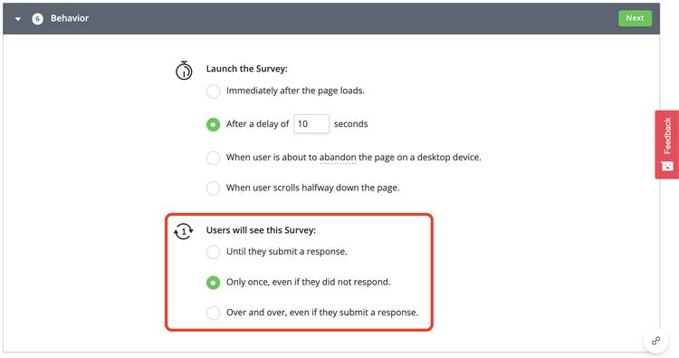 Hotjar survey frequency