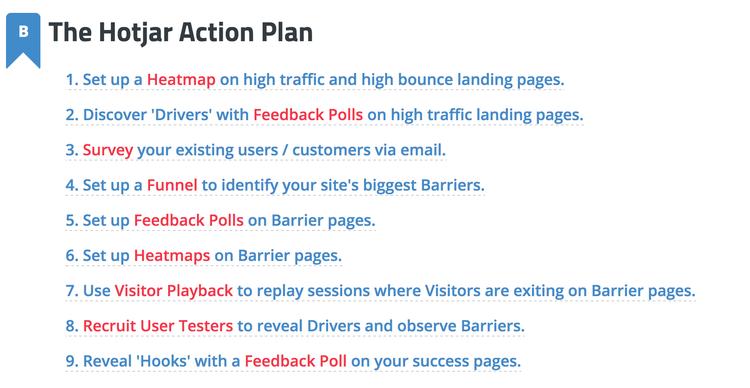 Hotjar Action Plan