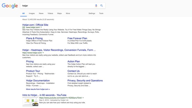 screenshot of google search results for Hotjar