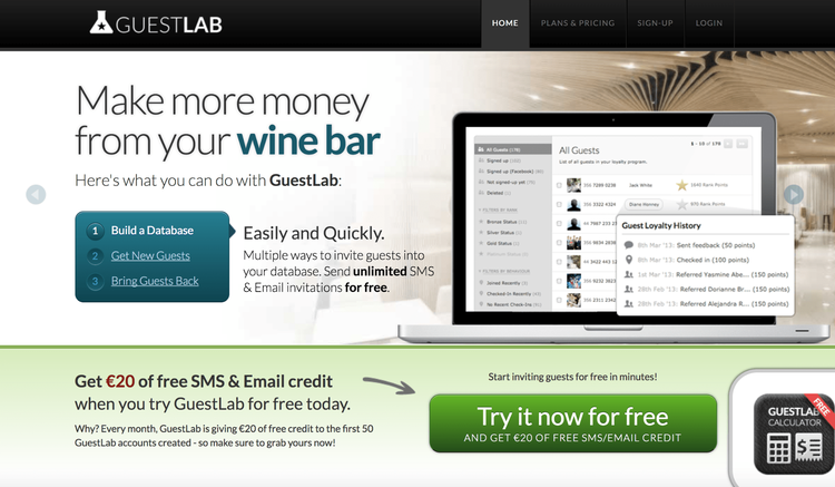 screenshot of guestlab's home page