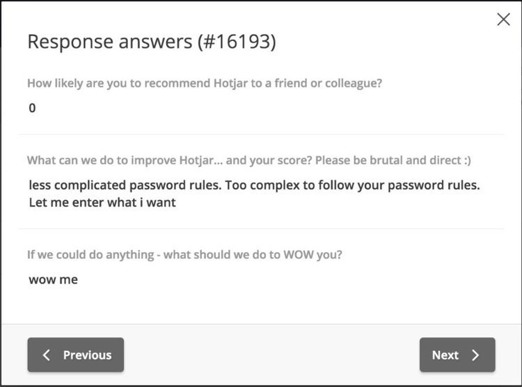 screenshot of a Hotjar customer response to an NPS survey