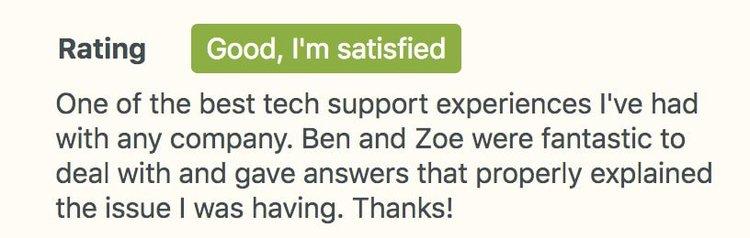 customer satisfaction survey rating