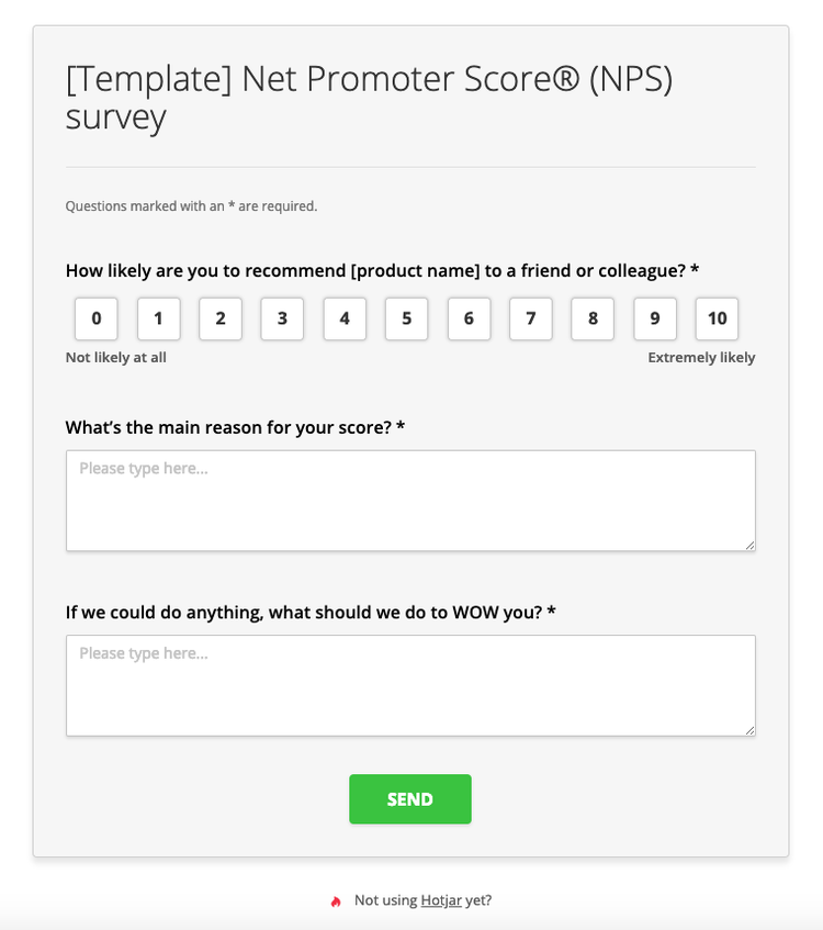 nps net promoter score survey template