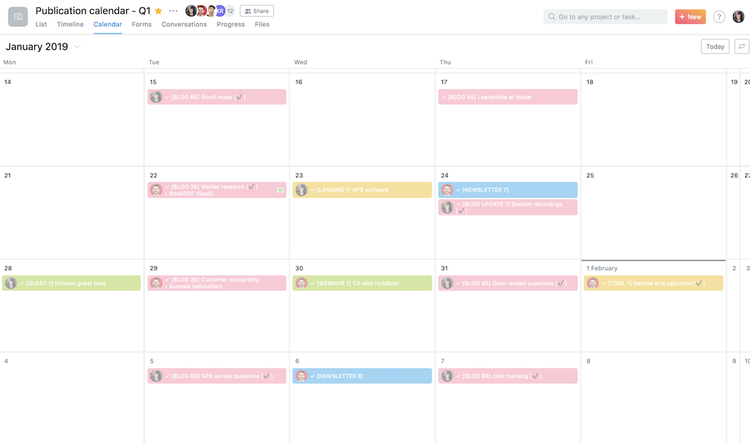 screenshot of a Hotjar Asana calendar