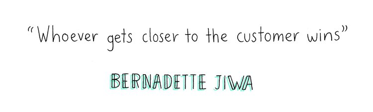 graphic of quote by bernadette jiwa - whoever gets closest to the customer wins
