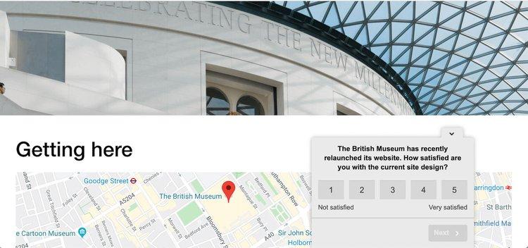 british museum website uses hotjar polls
