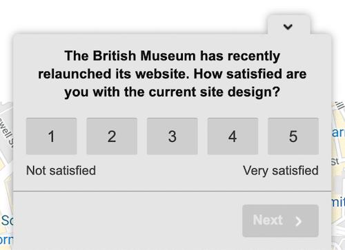 the British Museaum uses hotjar polls to evaluate website redesign