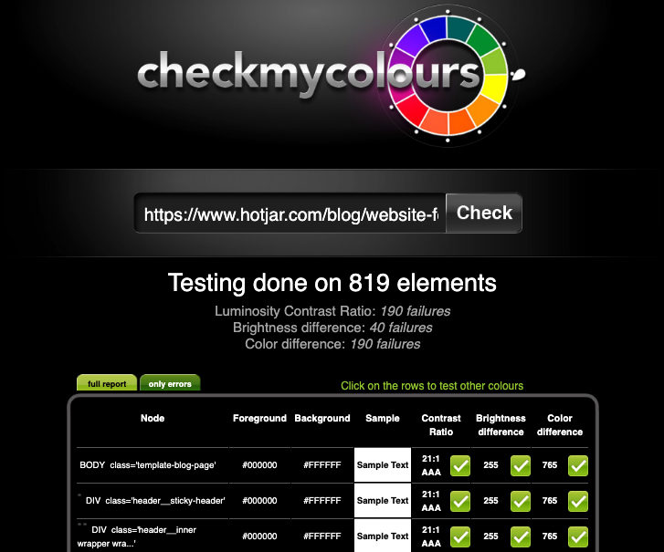 A website color contrast test on CheckMyColours