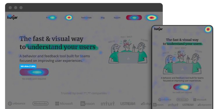 A desktop (left) and mobile (right) click map