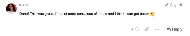 screenshot of Hotjar team member inclusive language challenge comment