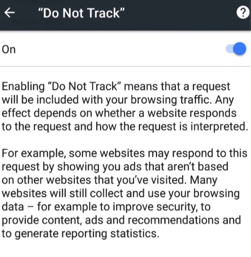 Do Not Track Android Chrome