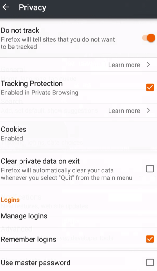 Do Not Track Android Firefox