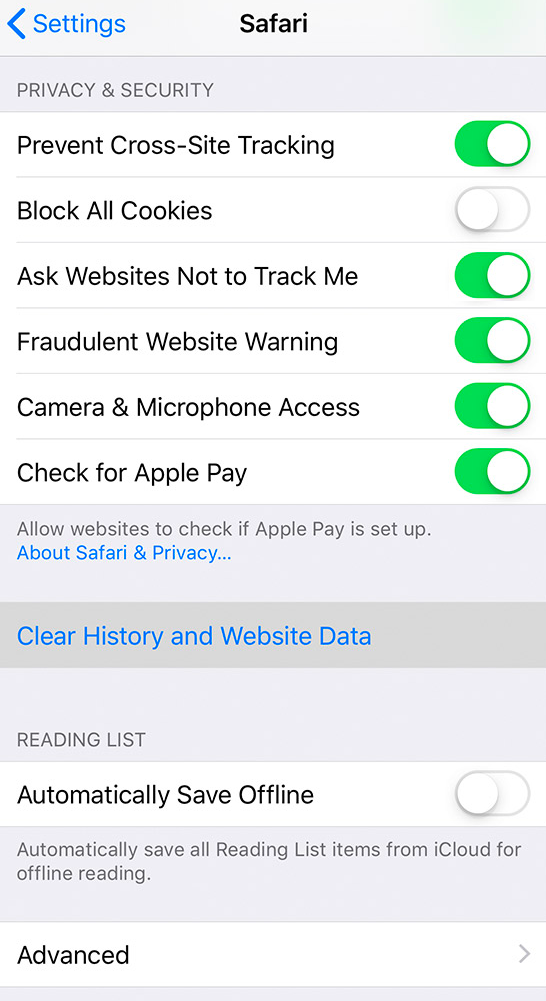 Do Not Track iOS Safari 12