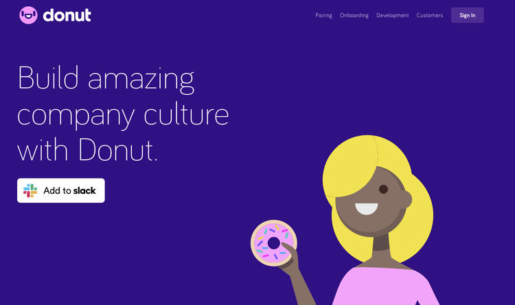 screenshot of donut's home page