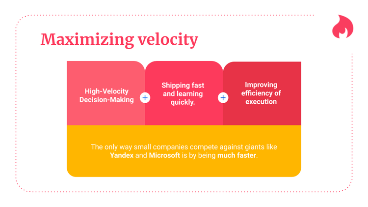 a graphic describing the three pillars to maximizing velocity