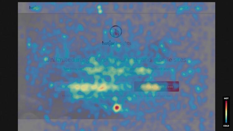 heatmap of Hotjar's homepage