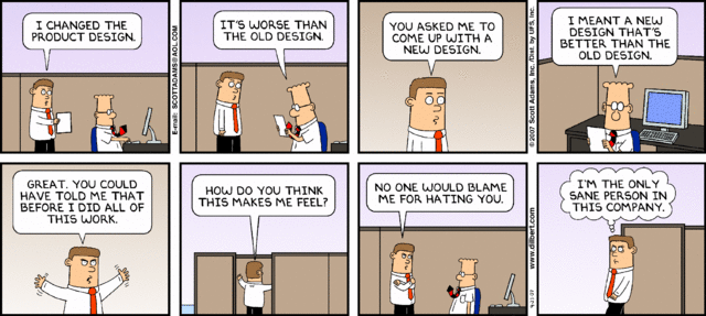 A Dilbert comic strip about a project redesign