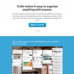screenshot of trellos homepage