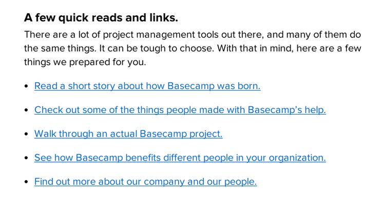 quick reads about Basecamp from it's website