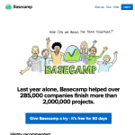 a screenshot of basecamp's homepage