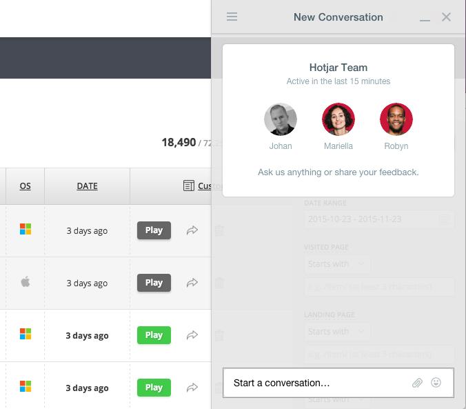 hotjar user feedback intercom