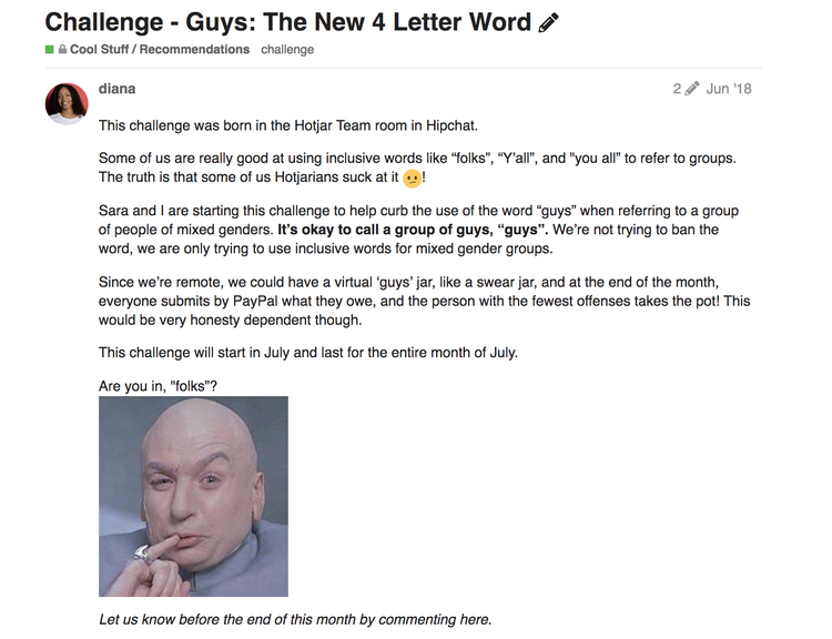 screenshot of Hotjar invite to inclusive language challenge
