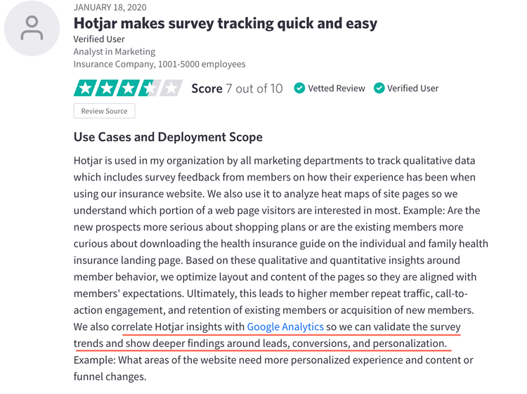 screenshot of a Hotjar customer review