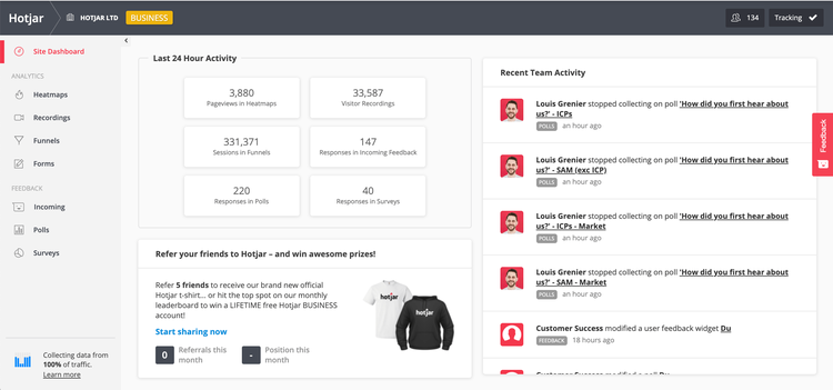 screenshot of hotjar's main dashboard