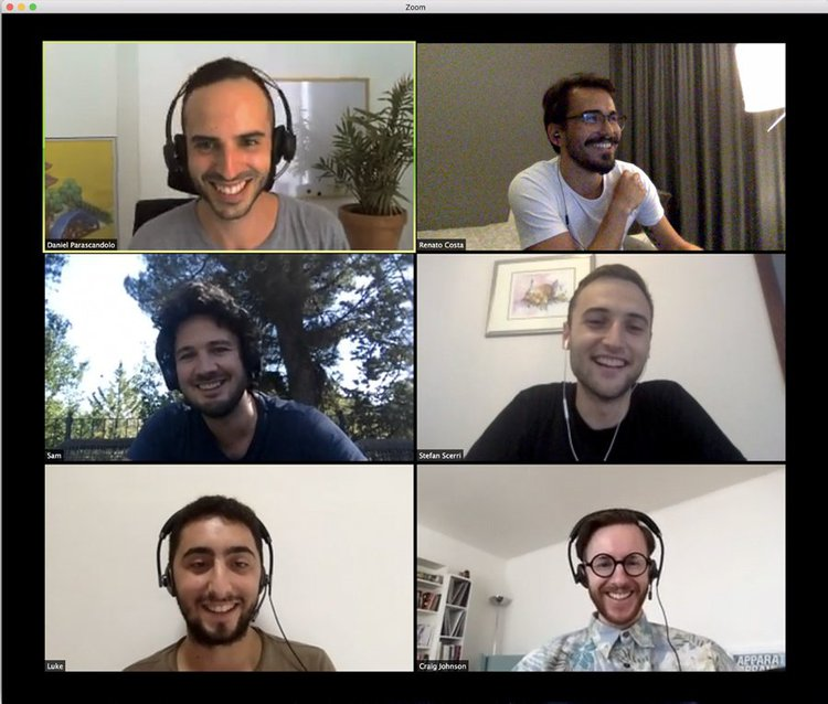 screenshot of a Hotjar design team video meeting