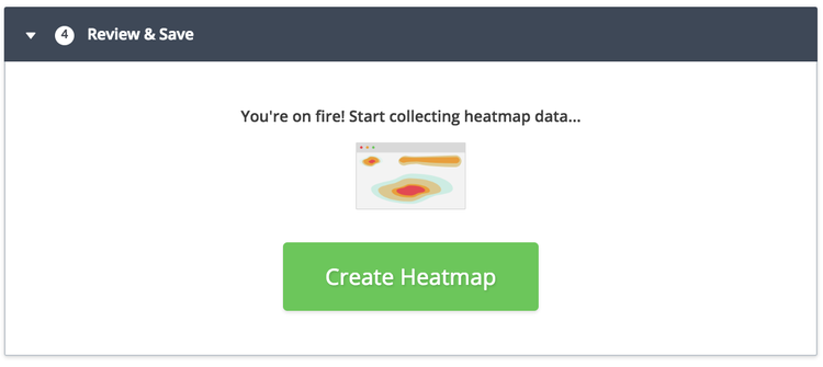step 5 to create a new Hotjar heatmap