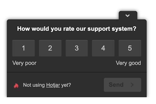 screenshot of a hotjar onsite poll