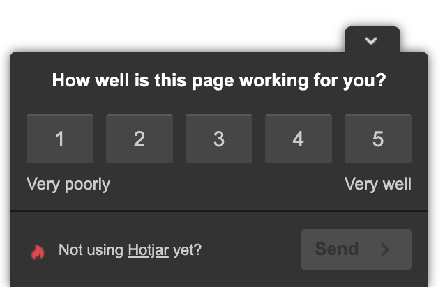 hotjar on site survey rating example