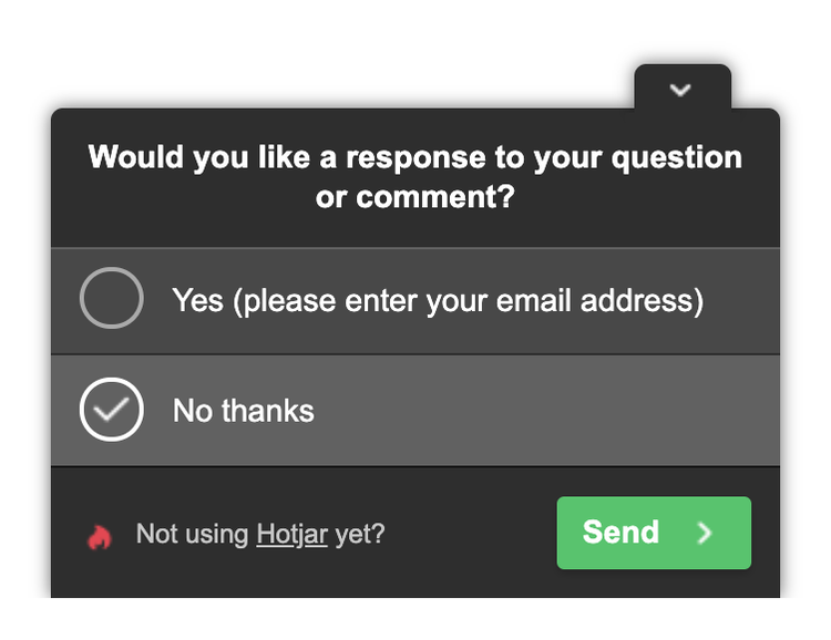hotjar survey question to determine if a user wants a follow up contact