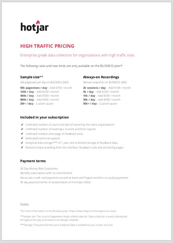 hotjar pricing enterprise