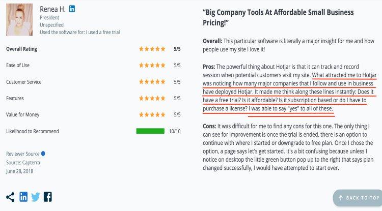 screenshot of a 5 star Hotjar customer review