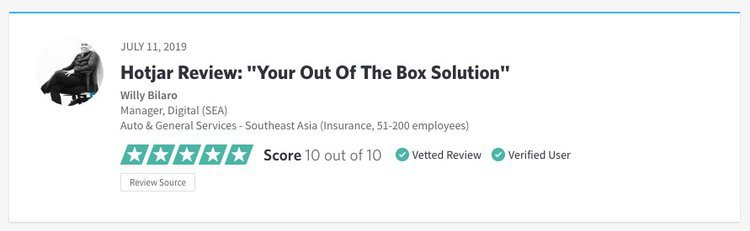 screenshot of a positive hotjar review