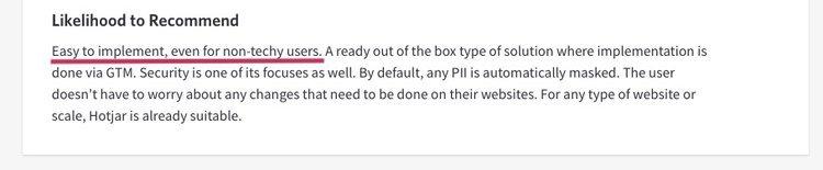 screenshot of a Hotjar positive customer review