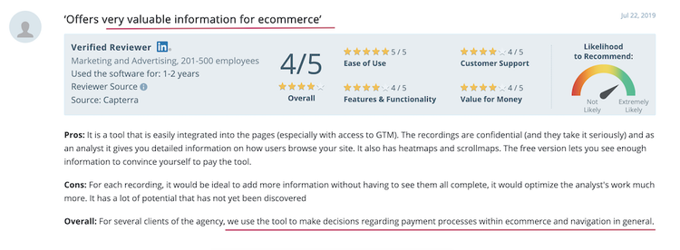 screenshot of a positive hojar customer review