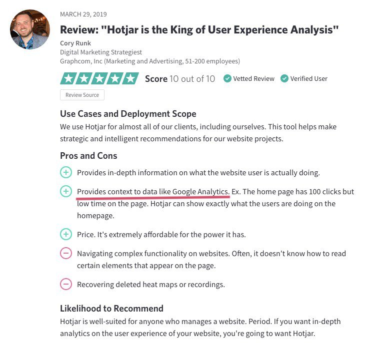 screenshot of a Hotjar customer review